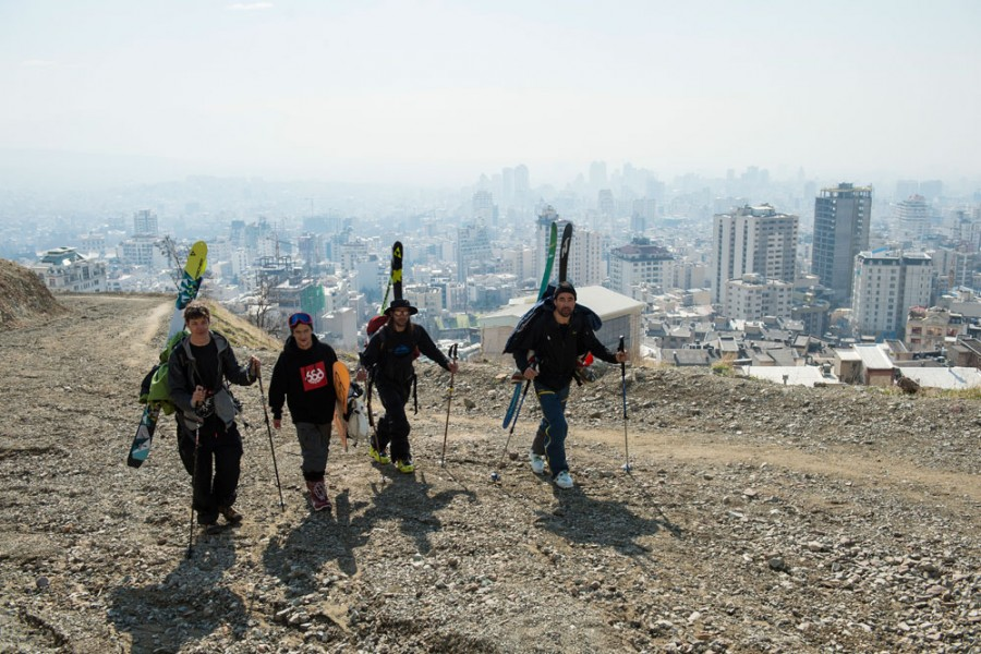 Jules Guarneri, Benoit Goncerut, Greg Tuscher and Arnaud Cottet on their way up in Tehran to ski in Touchal ski resort; Photo by Ruedi Flück